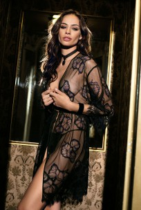 Mid-length black sexy Dressing-gown 3/4 sleeves