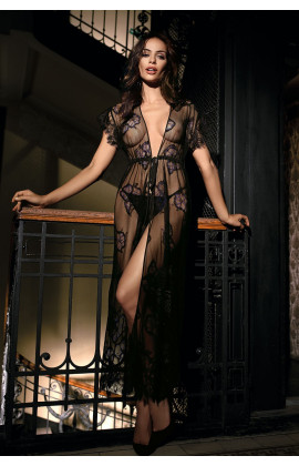 Long sexy dressing-gown short sleeves tulle and lace