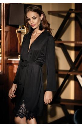 Déshabillé Angelina mi-long à manches longues avec dentelle. Plusieurs coloris
