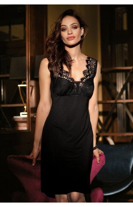 Classic little black nightdress glamourous with lace
