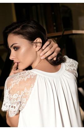 Chemise de nuit Angelina mi-longue, manches courtes et dentelle