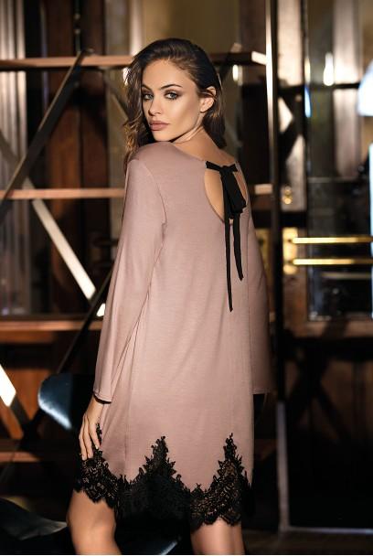 Chemise de nuit Angelina dessus des genoux manches longues, dentelle
