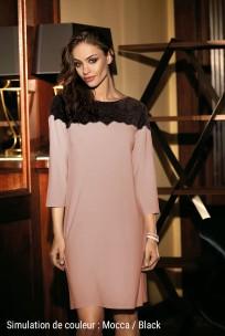 Chemise de nuit Angelina tunique dentelle, manches ¾