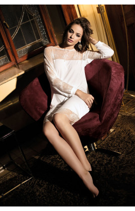 Tunic shape nightdress Gia mid-length long sleeves and lace