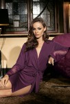 Mid-length dressing-gown Gia long sleeves with lace