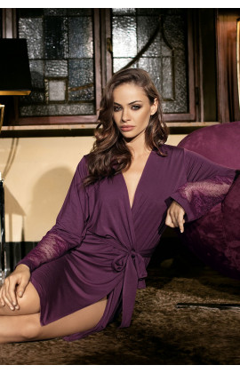 Mid-length dressing-gown long sleeves with lace