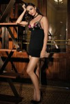 Black Combishort Gia, Top decorated with embroidery  and adjustable strapes