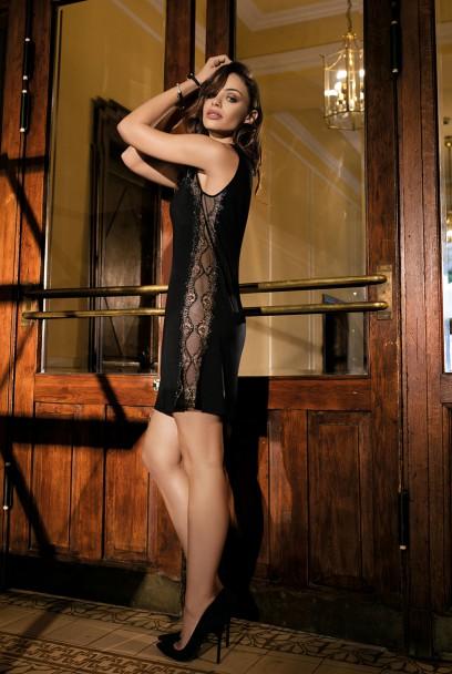 Nuisette Alessia sans manche noire tulle et dentelle brillante.