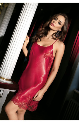 Nightdress satin and thin crossed  adjustable strape on back