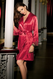 Satin dressing gown Eternal glam long sleeves and lace