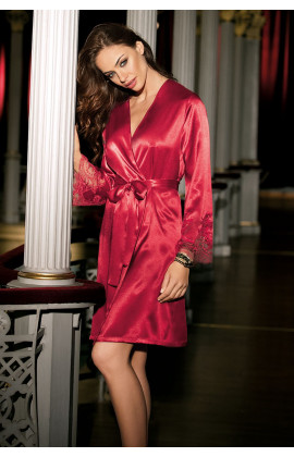 Satin dressing gown long sleeves and lace