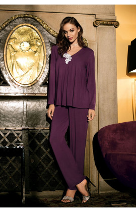 Pyjama Luna 2 pieces long sleeves, V-shaped neckline