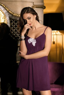 Nightdress thin strapes and embroidery on neckline