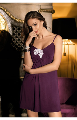 Nightdress Luna thin strapes and embroidery on neckline