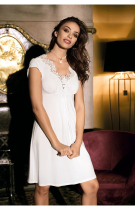 Nightdress short sleeves, lace on neckline