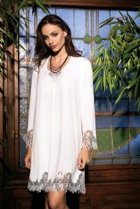 Elegant nightdress Darcia long sleeves round neckline