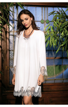 Elegant nightdress long sleeves round neckline