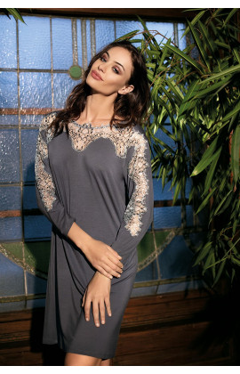 Loose-cut tunic nightdress, long sleeves and lace