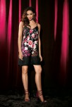 Nightdress Kaori thin strapes satin and japanese pattern