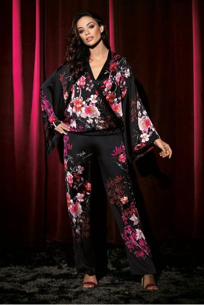 Pyjama kaori 2 pièces satin col kimono motif japonais