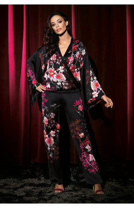 Pyjama 2 pieces satin kimono collar japanese pattern