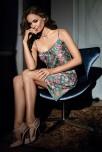 Nightdress Keira  satin motif floral pattern