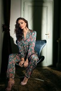 Pyjama 2 pieces satin floral pattern