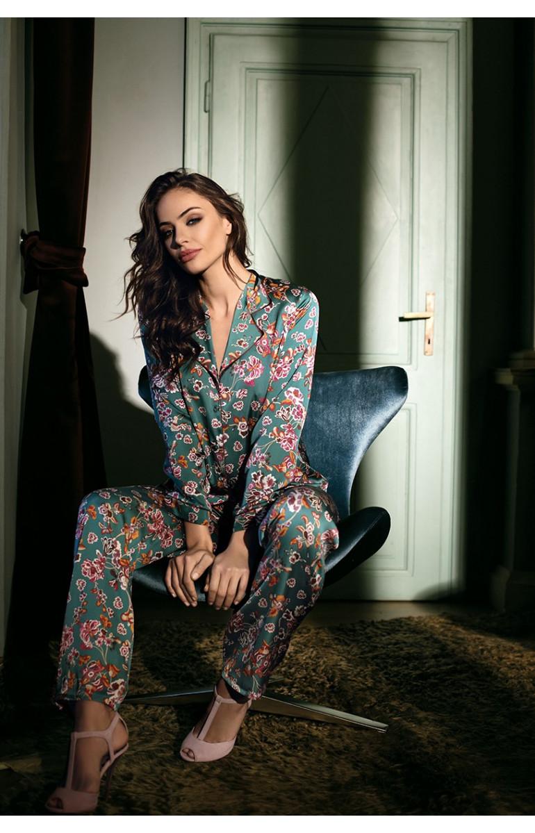 Pyjama Keira 2 pièces en satin motif fleuri