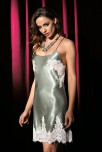 Nightdress Violetta satin and lace thin crossed adjustable strapes