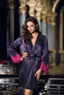 Halblanger Kimono Violetta mit langen Ärmeln aus Satin und Spitze