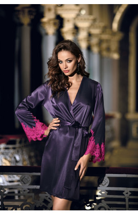 Dressing-gown mid-length long sleeves satin and lace