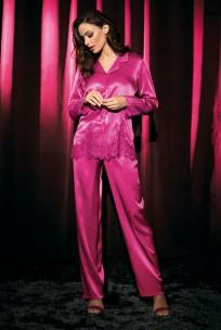 Zweiteiliger Pyjama aus Satin und Spitze Violetta