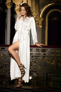 Dressing-gown ankle-length satin and lace