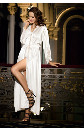 Dressing-gown Violetta ankle-length satin and lace