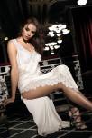 Maxi length sleeveless nightdress satin and lace