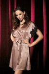 Dressing-gown Violetta with satin and lace short-sleeves
