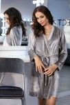 Grey velour dressing-gown Glow with long sleeves