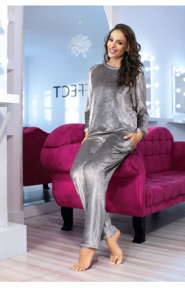 Pyjama / tenue d'intérieur Glow 2 pièces velours gris