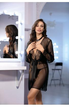 Déshabillé Zahara sexy noir tulle et dentelle.