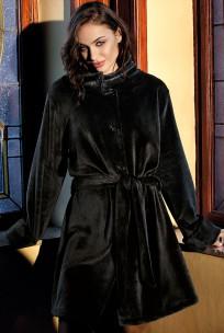 Dressing gown / bathrobe Wellness mid-length hight stand-up collar