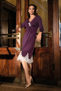 Chemise de nuit Angelina mi-longue élégante, manche longue, dentelle.