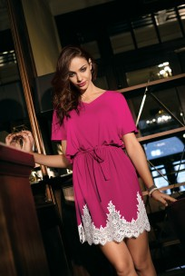 Nightdress Angelina shorter tunic tied at the waist, lace and short sleeves