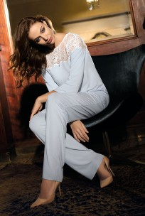 Pyjama  Angelina 2 pieces long trousers and lace on the neckline