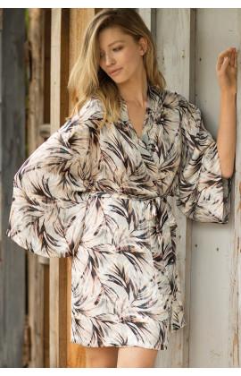 Déshabillé forme kimono en satin manches longues  - Ligne Izzy
