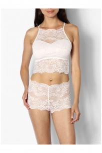 Lace bralette and French knicker lingerie set - coemi-lingerie