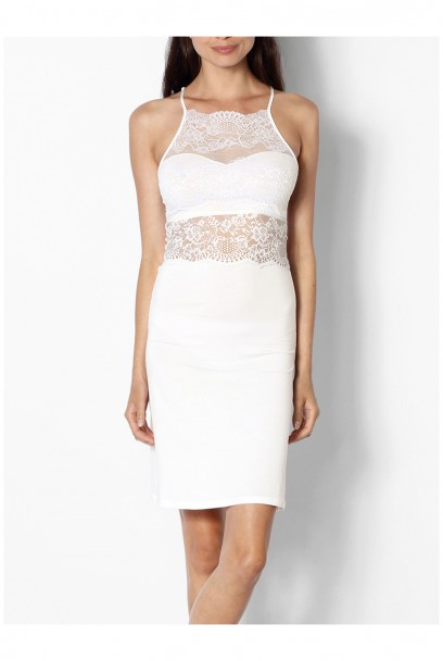 Fitted Nightdress With Lace Neckline And Backline