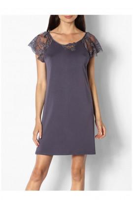 Chemise de nuit / robe d'intérieur petites manches en dentelle - Ligne Gisèle - Coemi-Lingerie