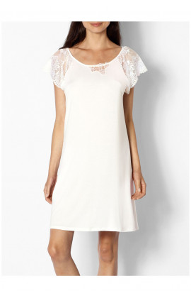 Loungewear nightdress with pretty, lace sleeves. Coemi-lingerie