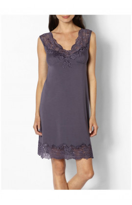 Beautiful loungewear nightdress with lace trim and plunging backline- Coemi-lingerie