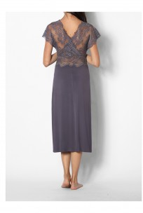 Loungewear nightdress with short lace sleeves and V-shaped lace neckline